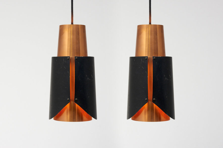 modest furniture vintage 1666 bent karlby black pendant red copper 00