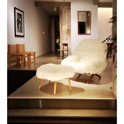 Cosy, cosier...The Cosiest! From the land of Hygge, Illum Wikkelsø lounge chair in lamb skin