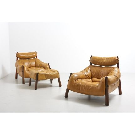 Design by Percival Lafer • Original mustard leather with legs in solid Jacaranda • Made in Brazil in the 1960's #vintage #vintagestyle #vintageinteri