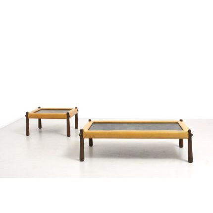 A set of 2 low tables designed by Percival Lafer. Legs in solid Jacaranda, top in slate stone with a frame upholsterd in mustard leather. Made in Braz