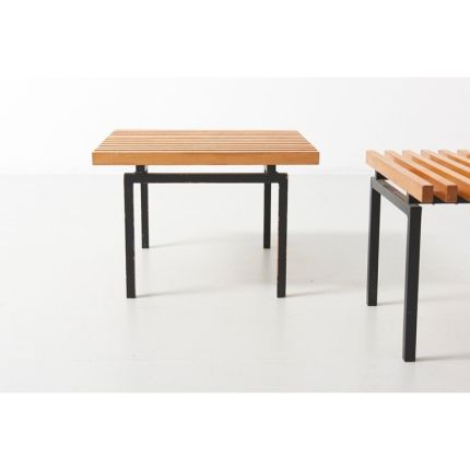 A pair side tables • 1960s • Made of wood slats in ash on a frame in black steel #midcenturymodern #midcenturyfurniture #midcentury #midcenturydesign