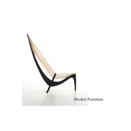 A Harp chair designed by Jørgen Høvelskov in 1968. The chair is made of black lacquered ash wood and rope. It is beautiful to look at and also providi