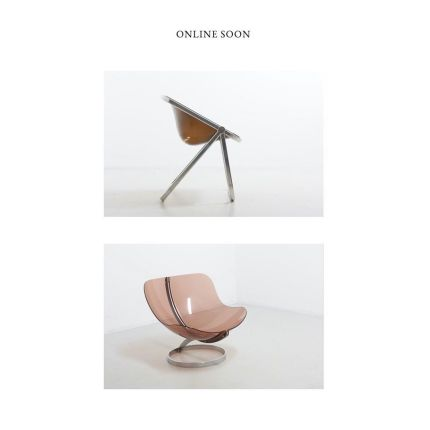 Coming online soon! Upper picture is the Plona Chair by Giancarlo Pirettu for Castelli, 1970s, Italy. The second picture is the Sphere lounge chair by