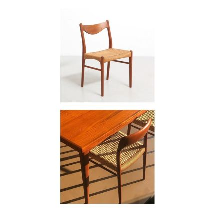 A set of 6 dining chairs in teak, with original papercord. Design by Arne Wahl Iversen in the 1950s and made by Glyngøre Stolefabrik in Denmark.✨ #mid