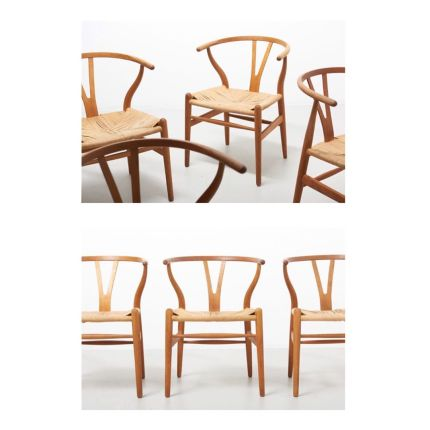 A set of 4 dining chairs in soap treated oak with paper cord seats, known as the Wishbone chair. Design by Hans J. Wegner in 1950. Model CH24, made by
