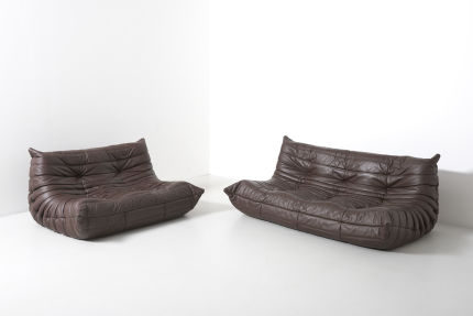 modest furniture vintage 1846 togo ligne roset brown leather 01